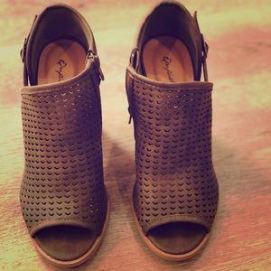 Army Green Block heel sandals